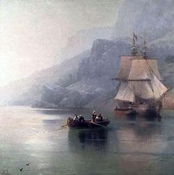 Иван Айвазовский Рыбачья лодка и русский торговый бриг на якоре 1871