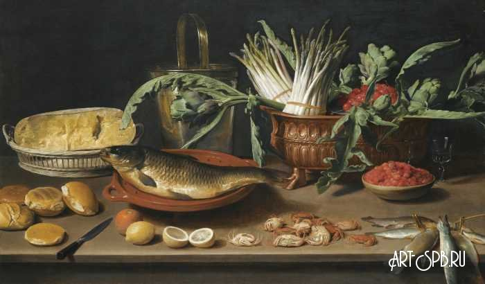 Натюрморт с рыбой, сыром, хлебом и др объектами. Якоб Фопсен ван Эс