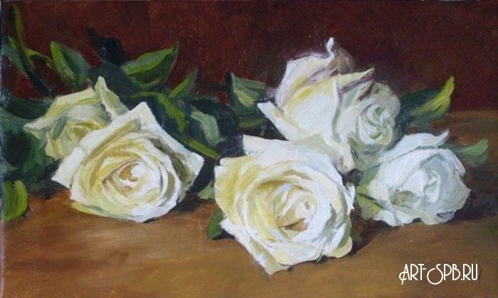 Купить картну белые розы на черном фоне доставка цветов новосибирске амур