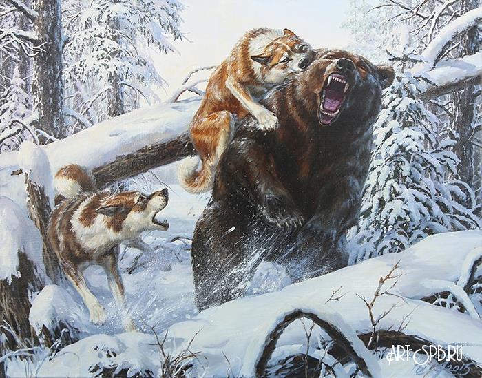 картинка охота на медведя с собаками знаем