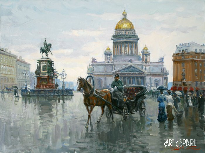 «Извозчик на Исаакиевской площади» Ляхович Сергей холст ...  извозчик